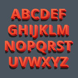 3d font. Three-dimensional alphabet letters. Vector illustration. Stock Image