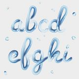 3d font. Transparent Letters a, b, c, d, e, f, g, h, i. Realistic water paint render typography vector illustration. 3d font. Transparent Letters a, b, c, d, e Stock Photography