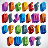 3d font, vector bold and heavy letters. Royalty Free Stock Images