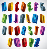 3d font, vector colorful glossy letters. Stock Photo
