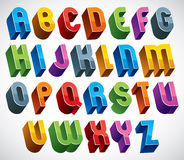 3d font, vector colorful glossy letters. Royalty Free Stock Photography