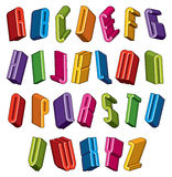 3d font, vector colorful letters, geometric dimensional alphabet Royalty Free Stock Image