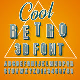 3d font. Vector retro 3D font with shadow. Vintage poster. Illustration EPS10 Stock Photography