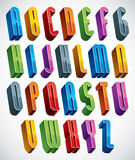 3d font, vector tall thin letters. Royalty Free Stock Photos