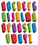 3d font, vector tall thin letters. Stock Image