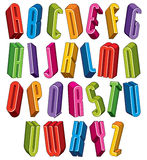 3d font, vector tall thin letters. Stock Photography