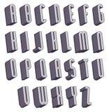 3d fonte, alfabeto dimensionale monocromatico Fotografia Stock Libera da Diritti