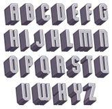 3d fonte corajosa geométrica, alfabeto dimensional monocromático ilustração do vetor