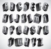 3d fonte, letras dimensionais geométricas ajustadas Fotografia de Stock