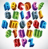 3d fonte, letras lustrosas coloridas Foto de Stock