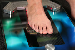 3D foot scanner. Foot on a 3D foot scanner for orthotics Royalty Free Stock Photography