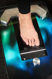 3D foot scanner. Foot on a 3D foot scanner for orthotics royalty free stock photo