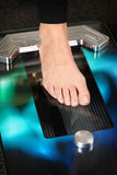 3D foot scanner. Foot on a 3D foot scanner for orthotics royalty free stock image