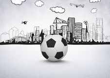 3D Football with city drawings on white background Stock Images