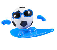 3d Football dude goes surfing Stock Photography