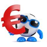 3d Football dude holds Euro symbol Royalty Free Stock Photo