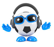 3d Football dude listens on headphones Stock Image
