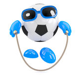 3d Football dude skips to keep in shape Royalty Free Stock Images