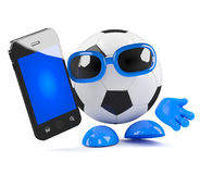 3d Football dude with smartphone Stock Photography