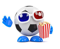 3d Football dude wears 3d glasses and eats popcorn Stock Photo