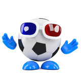3d Football dude wears 3d glasses Stock Images