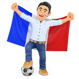 3D Football fan with the flag of France Stock Photography