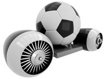 3D Football on flying engine Stock Photo