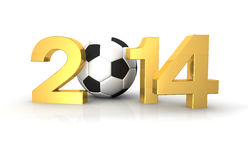 3D - Football 2014 gold Royalty Free Stock Images