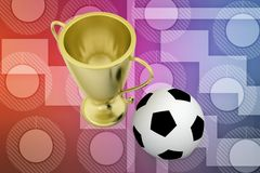 3d football golden cup illustration Stock Photo