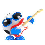 3d Football guitarist. 3d render of a football character playing electric guitar Stock Photo