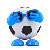3d Football hides his eyes Royalty Free Stock Image