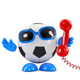 3d Football on the phone Royalty Free Stock Image
