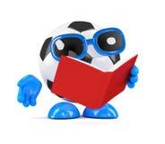 3d Football reads a book Stock Photos