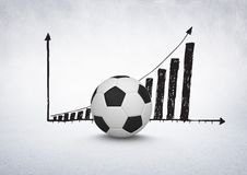 3D Football with rising incremental chart drawings on white background Royalty Free Stock Photography