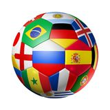 Russia 2018. Football soccer ball with team national flags on wh. 3D football soccer ball with team national flags. Russia 2018. Isolated on white Stock Images