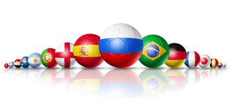 Russia 2018. Football soccer balls with team national flags. 3D football soccer balls with team national flags. Russia 2018. Isolated on white Royalty Free Stock Photo