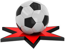 3D Football on the star Royalty Free Stock Photo