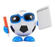 3d Football takes notes Stock Photos