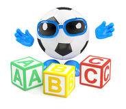3d Football teaches the alphabet. 3d render of a football character with wooden alphabet blocks Royalty Free Stock Photography