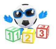 3d Football teaches math Stock Images