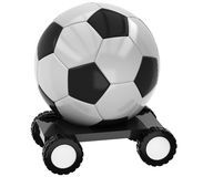 3D Football on wheels. On a white background Stock Image
