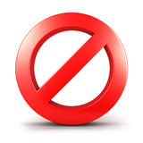 3d forbidden sign. Isolated white background, 3d image Royalty Free Stock Images