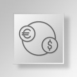 3D foreign exchange icon Business Concept. 3D Symbol Gray Square foreign exchange icon Business Concept Royalty Free Stock Photo