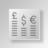 3D Foreign Exchange Market icon Business Concept. 3D Symbol Gray Square Foreign Exchange Market icon Business Concept Stock Photography