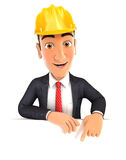 3d foreman pointing to empty wall Royalty Free Stock Image
