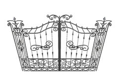 3D forged gate isolated on a white background.  Stock Images