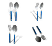 3D Fork and spoon icon. 3D Icon Design Series. Royalty Free Stock Image