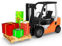 3d forklift with gift boxes Royalty Free Stock Photos