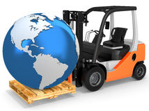 3d forklift with huge gift box Stock Images