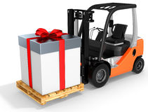 3d forklift with huge gift box Royalty Free Stock Image